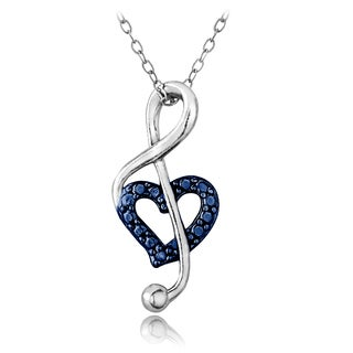 DB Designs Sterling Silver Blue Diamond Accent Musical Note Heart Necklace