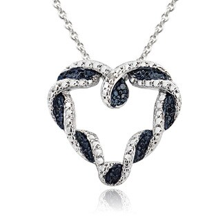 DB Designs Silvertone Brass Blue and White Diamond Accent Braided Heart Necklace