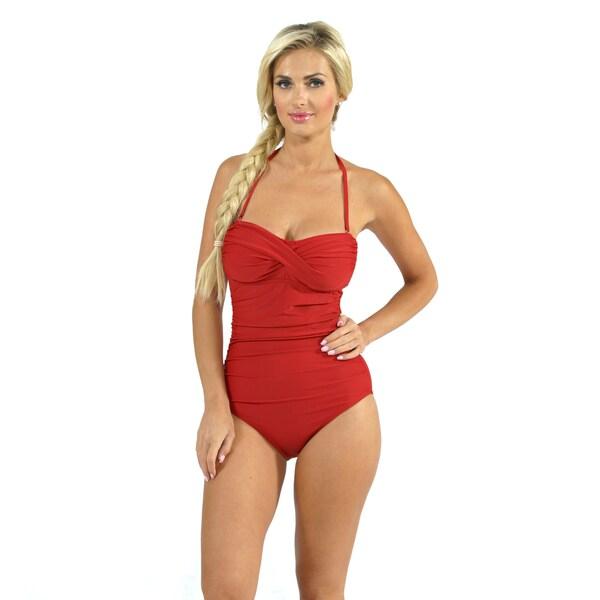 Aliana Swim Shirred Bandeau One Piece in Red