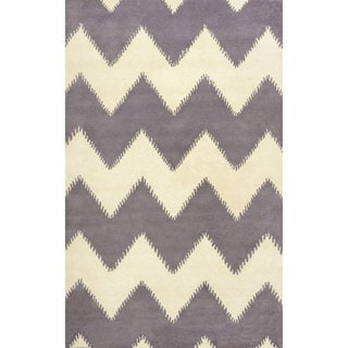 nuLOOM Hand-tufted Chevron Wool Grey Rug (7' 6 x 9' 6)