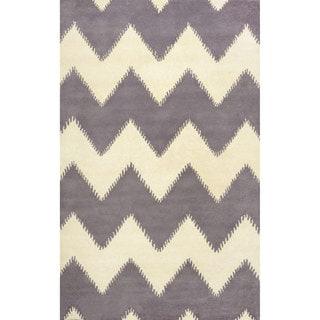 nuLOOM Hand-tufted Chevron Wool Grey Rug (7' 6 x 9' 6)