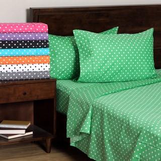 Superior 600 Thread Count Deep Pocket Polka Dot Cotton Blend Bed Sheet Set