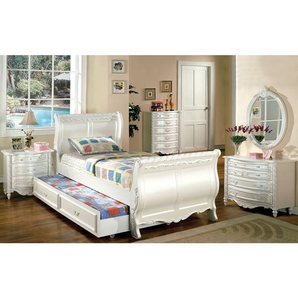 Alexandra Twin Size 4 Piece Bedroom Set With Dresser Mirror And Night Stand