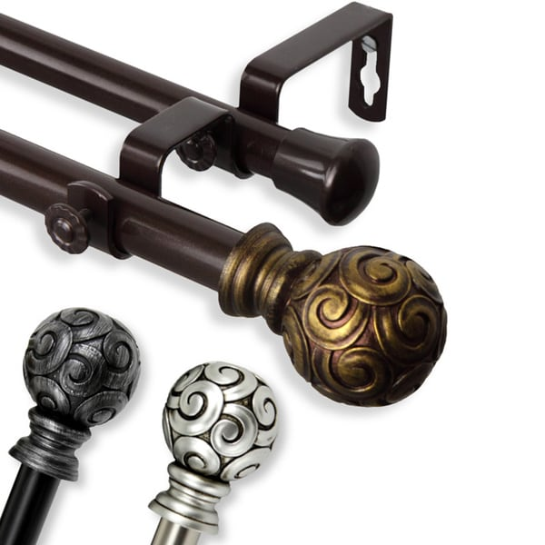 lux adjustable double curtain rod set