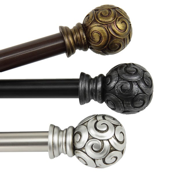 Lux Adjustable Curtain Rod Set - 16219219 - Overstock.com Shopping ...