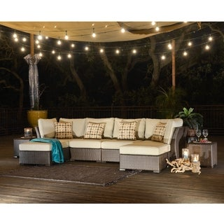 Corvus Oreanne Outdoor 8-piece Brown Wicker Sectional Sofa Set