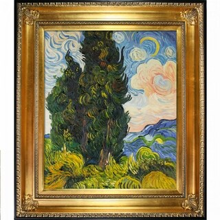 Vincent Van Gogh 'Two Cypresses ' Hand Painted Framed Canvas Art