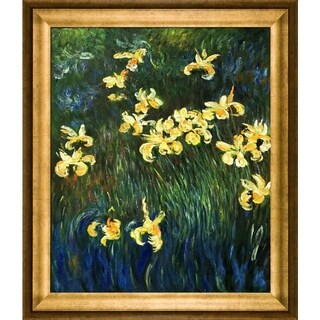 Claude Monet 'Yellow Irises ' Hand Painted Framed Canvas Art