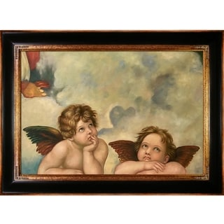 Raphael 'Madonna Sixtina (2 cherubs detail) ' Hand Painted Framed Canvas Art