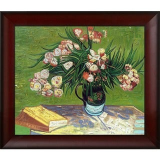Vincent Van Gogh 'Majolica Jar with Branches of Oleander ' Hand Painted Framed Canvas Art