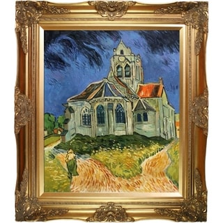 Vincent Van Gogh 'The Church at Auvers ' Hand Painted Framed Canvas Art