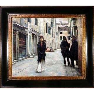 John Singer 'Sargent Street in Venice ' Hand Painted Framed Canvas Art