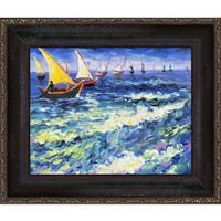 Vincent Van Gogh 'Seascape at Saintes Maries de la Mer ' Hand Painted Framed Canvas Art