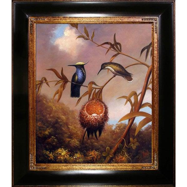 Martin Johnson Heade 'Black-Breasted Plovercrest ' Hand Painted Framed Canvas Art