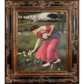 John William 'Narcissus ' Hand Painted Framed Canvas Art