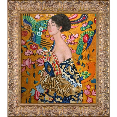 Gustav Klimt 'Signora con Ventaglio Interpretation ' Hand Painted Framed Canvas Art