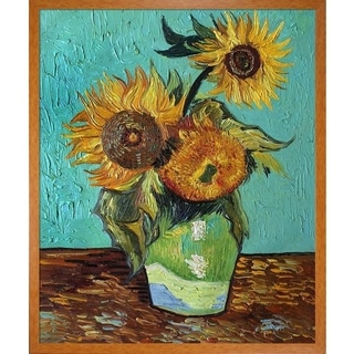 Vincent Van Gogh 'Sunflowers, First Version ' Hand Painted Framed Canvas Art