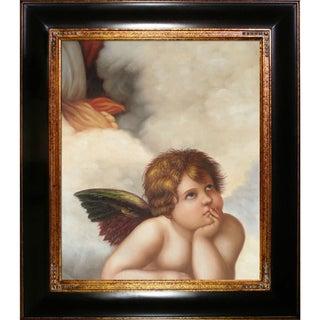 Raphael 'Madonna Sixtina (cherub detail) ' Hand Painted Framed Canvas Art
