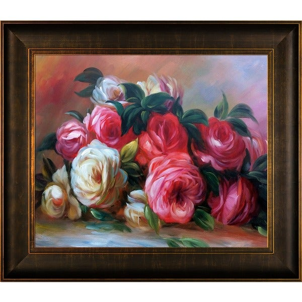 Pierre-Auguste Renoir 'Discarded Roses ' Hand Painted Framed Canvas Art