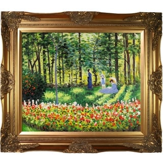 Link to Claude Monet 'La Famille D'artiste ' Hand Painted Framed Canvas Art Similar Items in Canvas Art
