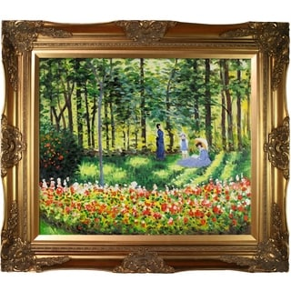 Claude Monet 'La Famille D'artiste ' Hand Painted Framed Canvas Art