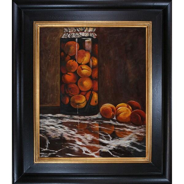 Claude Monet 'Jar of Peaches ' Hand Painted Framed Canvas Art