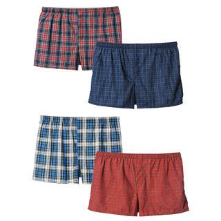 Hanes Men's Big and Tall Underwear Plaid Woven Boxers (Pack of 4)