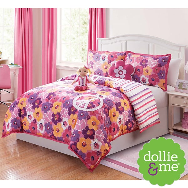 VCNY Dollie & Me Peace Sign 5-piece Reversible Comforter Set