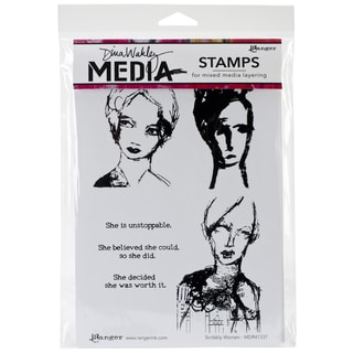 "Dina Wakley Media Cling Stamps 6""X9""-Scribbly Women"