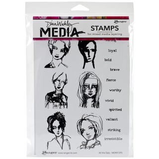 "Dina Wakley Media Cling Stamps 6""X9""-All The Gals"