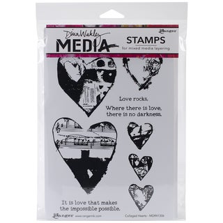 "Dina Wakley Media Cling Stamps 6""X9""-Collaged Hearts"