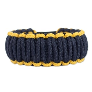 Polyester Men's 'Amina in Gold and Navy' Wristband Bracelet (Ghana)