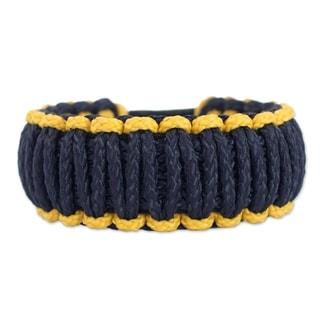 Polyester Men's 'Amina in Gold and Navy' Wristband Bracelet (Ghana)