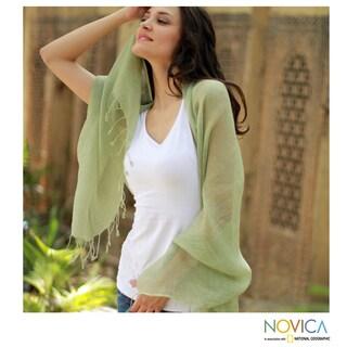 Handmade Linen 'Sheer Moss Green' Shawl (India)
