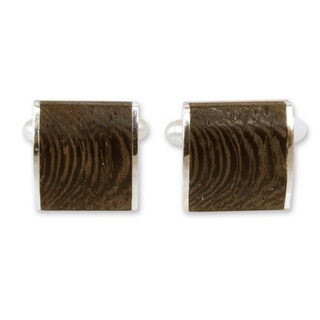 Handmade Sterling Silver 'Majestic Nature' Indian Elm Wood Cufflinks (Thailand)
