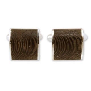 Sterling Silver 'Majestic Nature' Indian Elm Wood Cufflinks (Thailand)