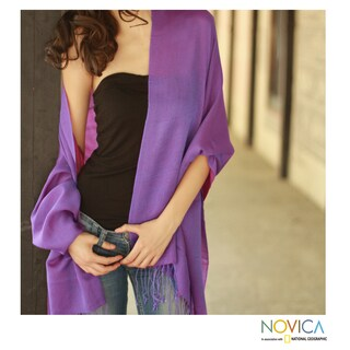 Crafted Wool and Silk Purple Orchid Reversible Shawl (India)