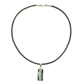 Handmade Leather 'Maya Legend' Jade Necklace (Guatemala)