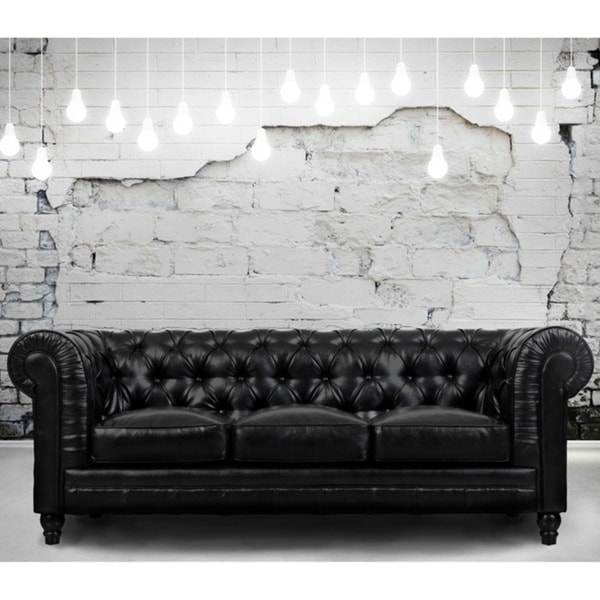 Zahara Black Leather Sofa - Zahara Black Leather Sofa - Free Shipping Today - Overstock.com