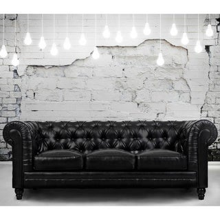 Zahara Black Leather Sofa