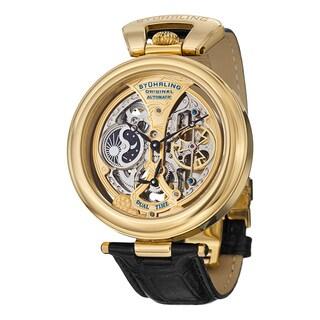 Stuhrling Original Men's Emperor's Grandeur Automatic Leather Strap Watch - Gold