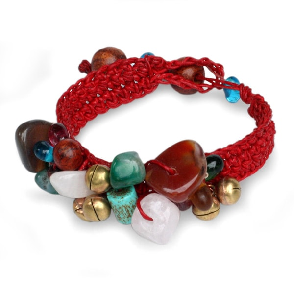 NOVICA Handmade Multi-gemstone 'Flamboyant Feast' Bracelet (Thailand). Opens flyout.