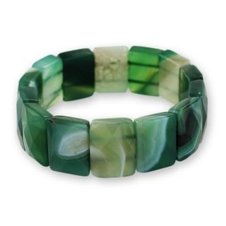 Handcrafted Agate 'Amazon Green' Stretch Bracelet (Brazil)