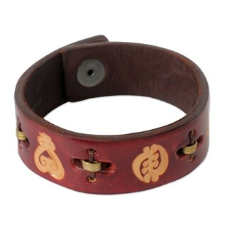 Men's Leather 'Mahogany Adinkra Celebration' Bracelet (Ghana)
