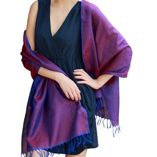 Handwoven Varanasi Silk 'Blue Ruby' Shawl (India)