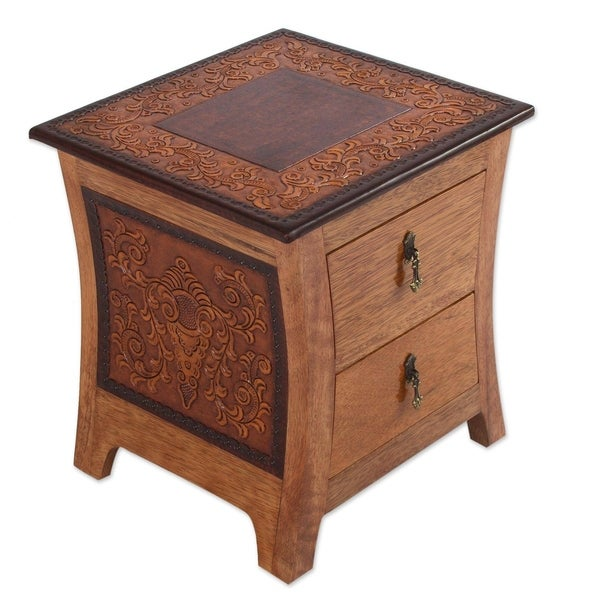 Handmade Floral Wood and Leather End Table (Peru)