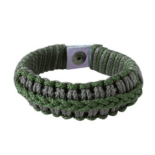 Handcrafted Men's Polyester 'Green and Grey Hausa' Bracelet(Ghana)