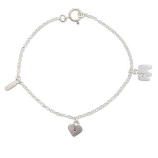 Handmade Sterling Silver 'I Love Elephants' Tourmaline Bracelet (Thailand)