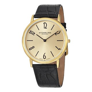 Stuhrling Original Men's Ascott Two Swiss Quartz Leather Strap Watch