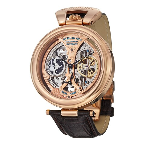 Stuhrling Original Men's Emperor's Grandeur Automatic Leather Strap Watch